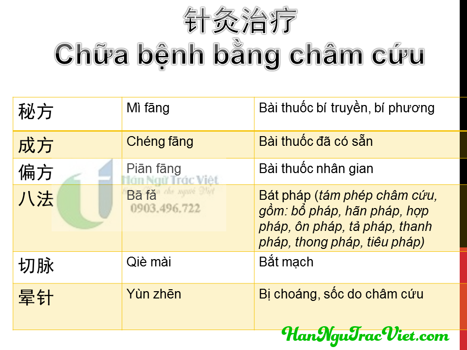 Từ vựng tiếng Trung chữa bệnh bằng châm cứu phần 2